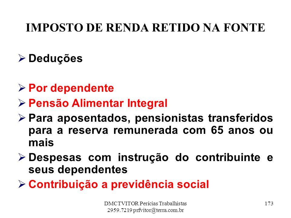 IMPOSTO DE RENDA RETIDO NA FONTE Deduções Por dependente Pensão Alimentar Integral Para aposentados, pensionistas transferidos para a reserva remunera