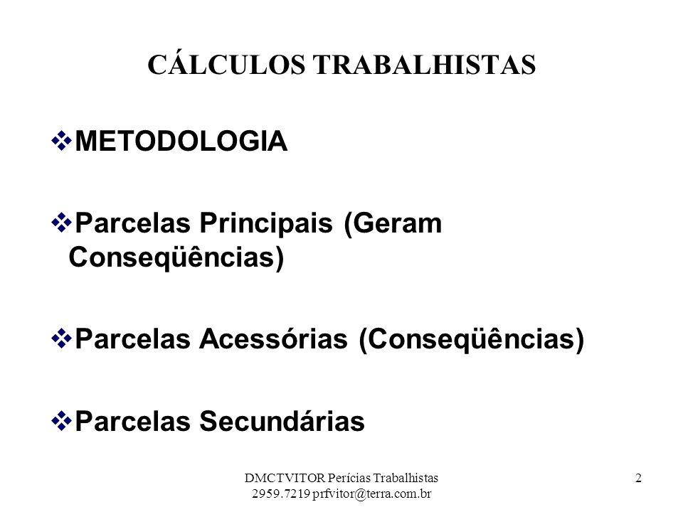 CÁLCULOS TRABALHISTAS METODOLOGIA Parcelas Principais (Geram Conseqüências) Parcelas Acessórias (Conseqüências) Parcelas Secundárias 2DMCTVITOR Períci
