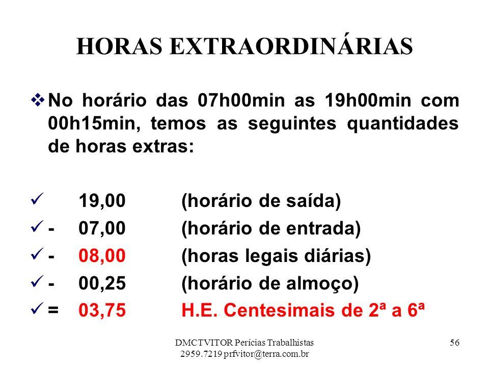 HORAS EXTRAORDINÁRIAS No horário das 07h00min as 19h00min com 00h15min, temos as seguintes quantidades de horas extras: 19,00 (horário de saída) - 07,