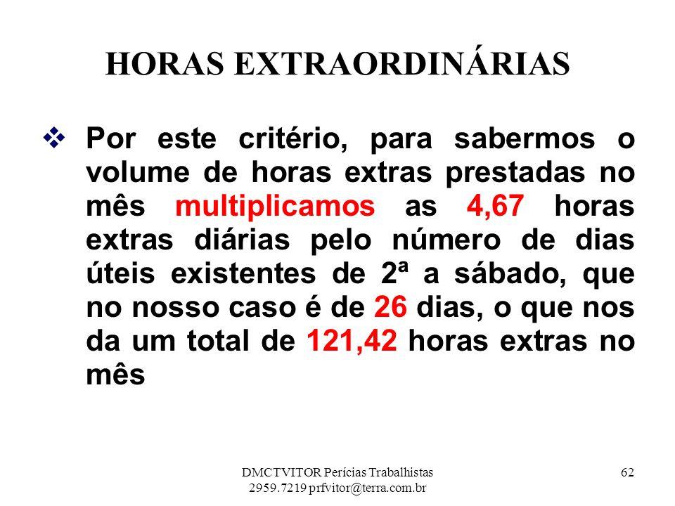 HORAS EXTRAORDINÁRIAS Por este critério, para sabermos o volume de horas extras prestadas no mês multiplicamos as 4,67 horas extras diárias pelo númer
