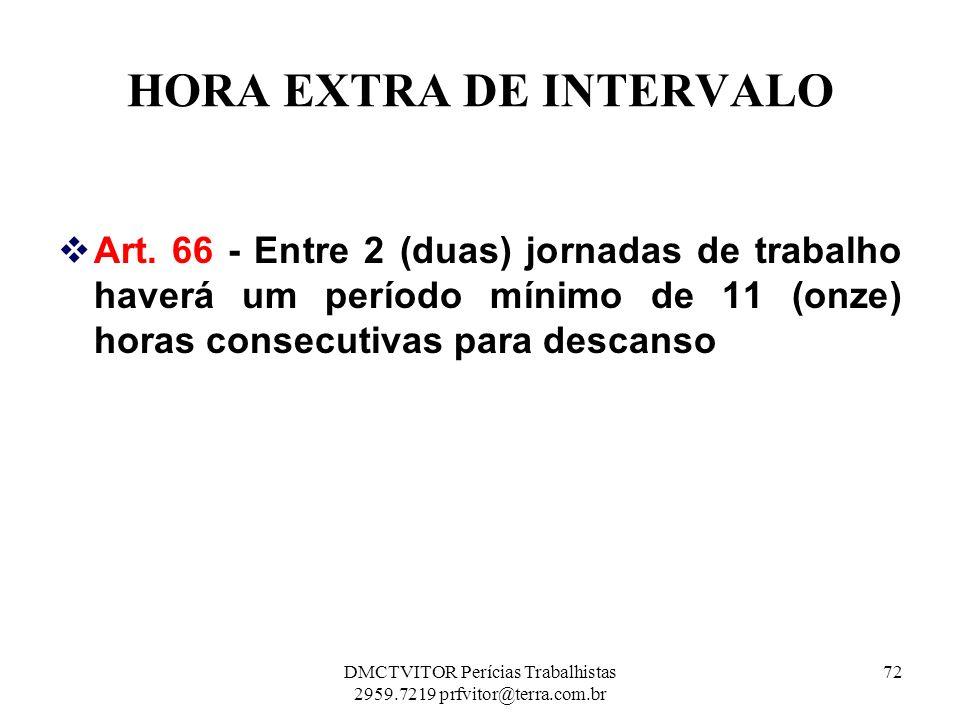 HORA EXTRA DE INTERVALO Art. 66 - Entre 2 (duas) jornadas de trabalho haverá um período mínimo de 11 (onze) horas consecutivas para descanso 72DMCTVIT