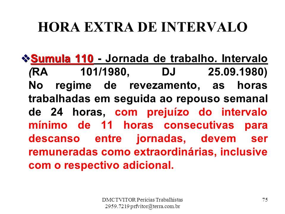 HORA EXTRA DE INTERVALO Sumula 110 - Jornada de trabalho. Intervalo Sumula 110 - Jornada de trabalho. Intervalo (RA 101/1980, DJ 25.09.1980) No regime