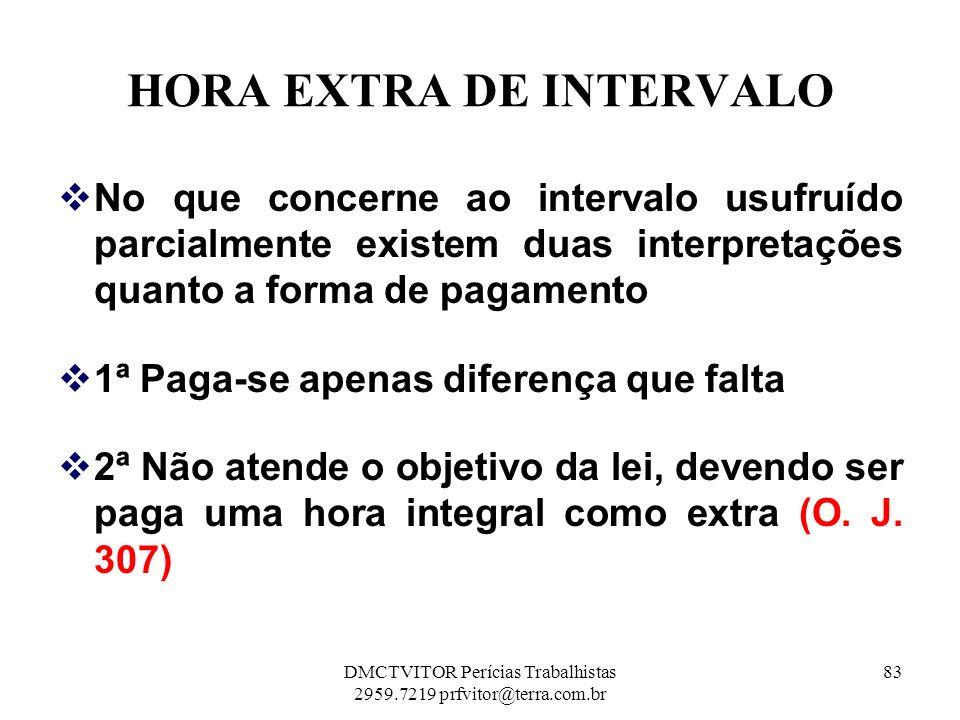 HORA EXTRA DE INTERVALO No que concerne ao intervalo usufruído parcialmente existem duas interpretações quanto a forma de pagamento 1ª Paga-se apenas
