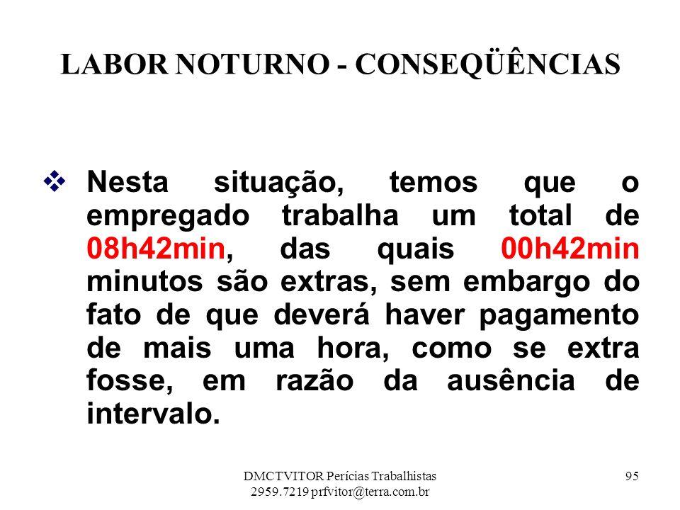 LABOR NOTURNO - CONSEQÜÊNCIAS Nesta situação, temos que o empregado trabalha um total de 08h42min, das quais 00h42min minutos são extras, sem embargo