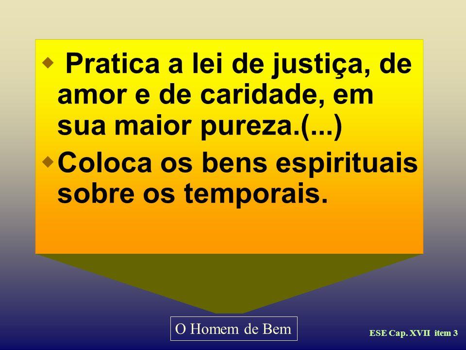 O Homem de Bem Evangelho Segundo o Espiritismo Cap. XVII - item 3 Vamos a observar a orientação de Kardec