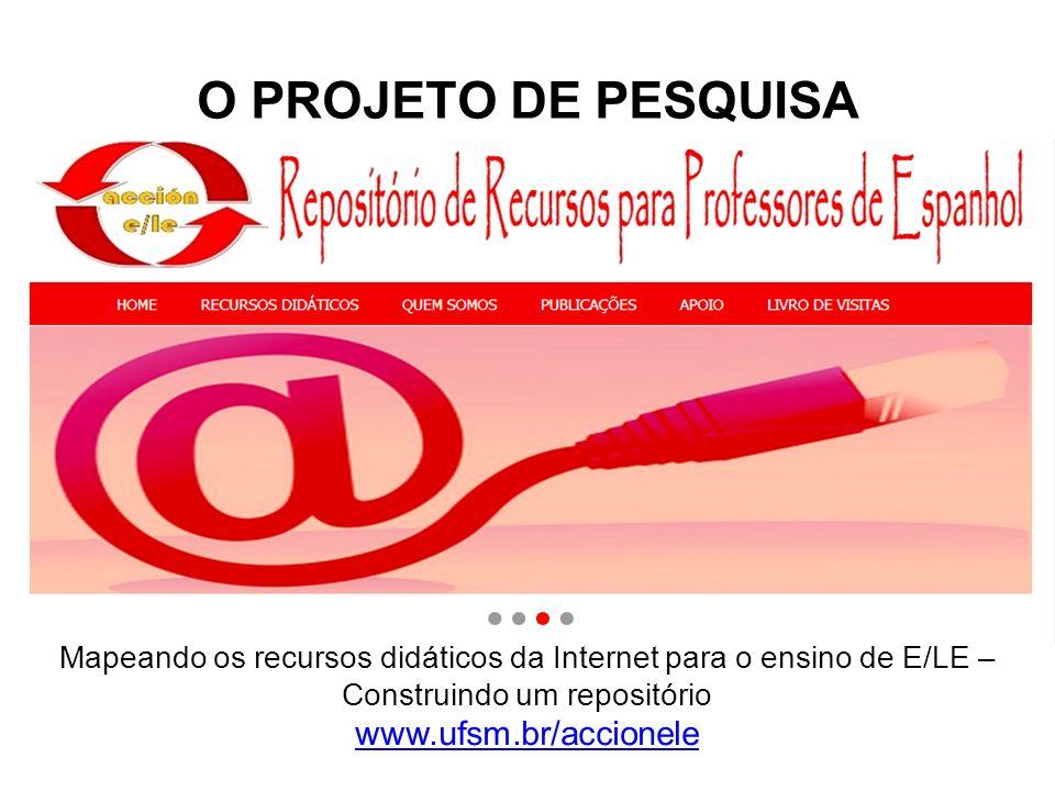 O PROJETO DE PESQUISA Mapeando os recursos didáticos da Internet para o ensino de E/LE – Construindo um repositório www.ufsm.br/accionele