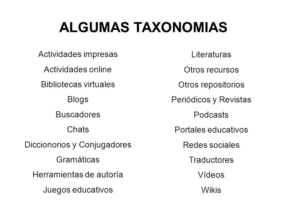 ALGUMAS TAXONOMIAS Actividades impresas Actividades online Bibliotecas virtuales Blogs Buscadores Chats Diccionorios y Conjugadores Gramáticas Herrami