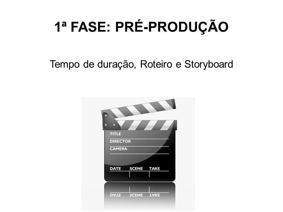 1ª FASE: PRÉ-PRODUÇÃO Tempo de duração, Roteiro e Storyboard