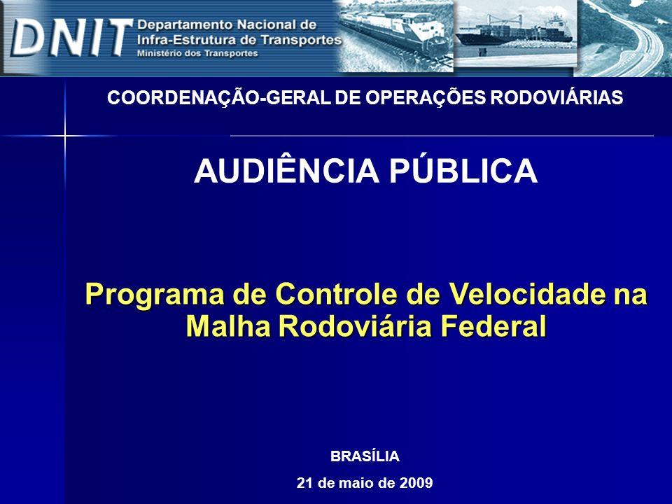 Programa de Controle de Velocidade na Malha Rodoviária Federal COORDENAÇÃO-GERAL DE OPERAÇÕES RODOVIÁRIAS AUDIÊNCIA PÚBLICA BRASÍLIA 21 de maio de 200
