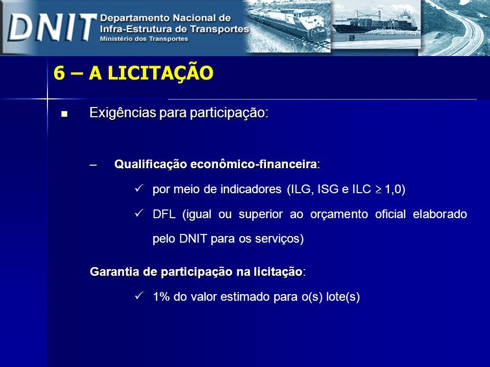 6 – A LICITAÇÃO Exigências para participação: Exigências para participação: –Qualificação econômico-financeira: por meio de indicadores (ILG, ISG e IL