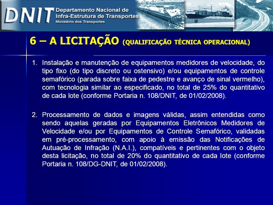 6 – A LICITAÇÃO (QUALIFICAÇÃO TÉCNICA OPERACIONAL) 1.Instalação e manutenção de equipamentos medidores de velocidade, do tipo fixo (do tipo discreto o