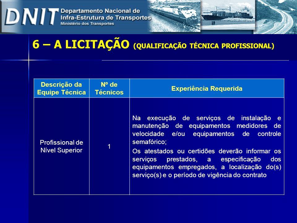 6 – A LICITAÇÃO (QUALIFICAÇÃO TÉCNICA PROFISSIONAL) Descrição da Equipe Técnica Nº de Técnicos Experiência Requerida Profissional de Nível Superior 1