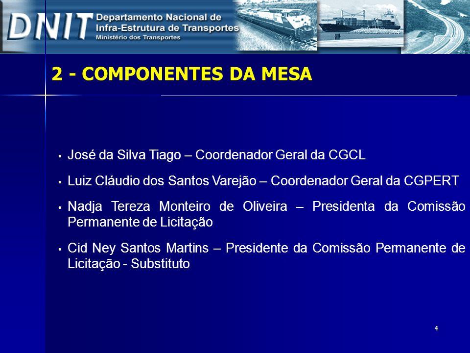 4 2- COMPONENTES DA MESA José da Silva Tiago – Coordenador Geral da CGCL Luiz Cláudio dos Santos Varejão – Coordenador Geral da CGPERT Nadja Tereza Mo