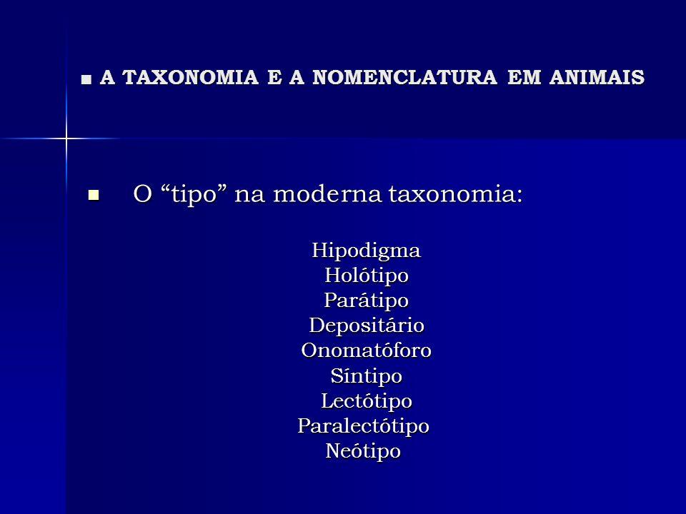 A TAXONOMIA E A NOMENCLATURA EM ANIMAIS A TAXONOMIA E A NOMENCLATURA EM ANIMAIS O tipo na moderna taxonomia: O tipo na moderna taxonomia: Hipodigma Hi