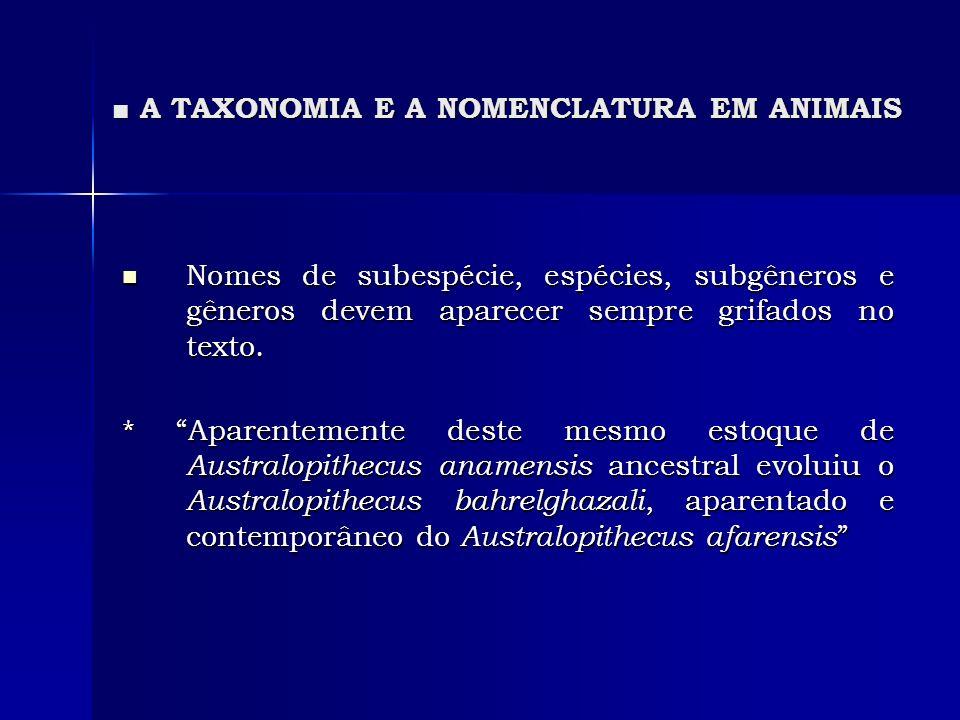 A TAXONOMIA E A NOMENCLATURA EM ANIMAIS A TAXONOMIA E A NOMENCLATURA EM ANIMAIS Nomes de subespécie, espécies, subgêneros e gêneros devem aparecer sem