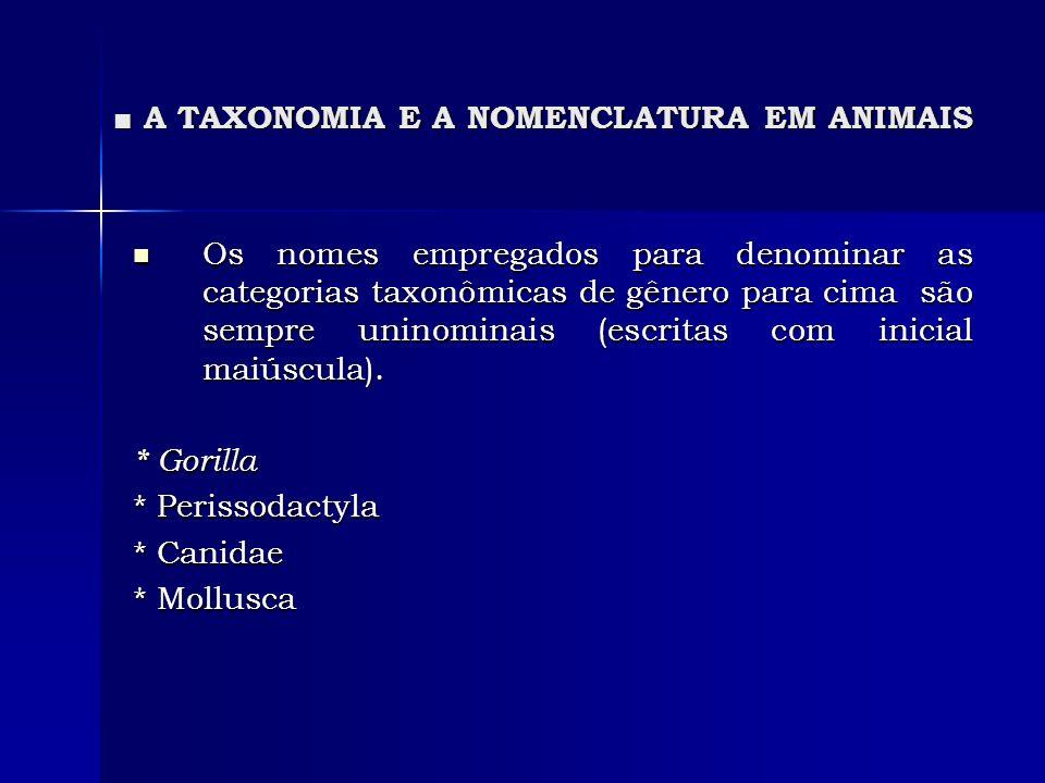 A TAXONOMIA E A NOMENCLATURA EM ANIMAIS A TAXONOMIA E A NOMENCLATURA EM ANIMAIS Os nomes empregados para denominar as categorias taxonômicas de gênero