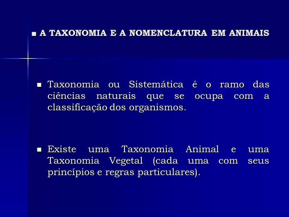 A TAXONOMIA E A NOMENCLATURA EM ANIMAIS A TAXONOMIA E A NOMENCLATURA EM ANIMAIS Lei da prioridade para que um nome científico tenha validade faz-se necessário a atenção de certos requisitos: Lei da prioridade para que um nome científico tenha validade faz-se necessário a atenção de certos requisitos: * A concordância do nome com as regras do Cód.
