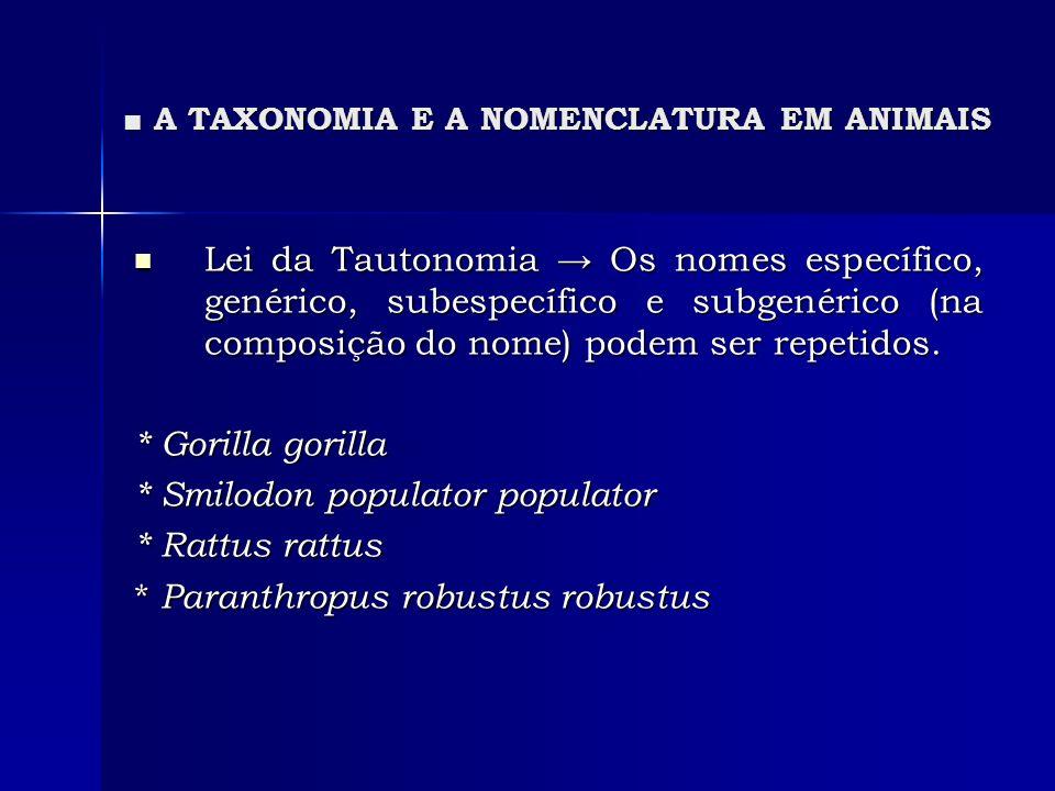 A TAXONOMIA E A NOMENCLATURA EM ANIMAIS A TAXONOMIA E A NOMENCLATURA EM ANIMAIS Lei da Tautonomia Os nomes específico, genérico, subespecífico e subge