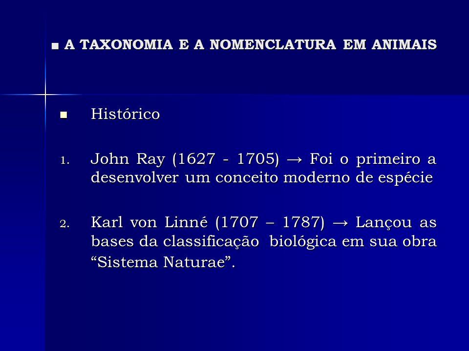 A TAXONOMIA E A NOMENCLATURA EM ANIMAIS A TAXONOMIA E A NOMENCLATURA EM ANIMAIS Histórico Histórico 1. John Ray (1627 - 1705) Foi o primeiro a desenvo