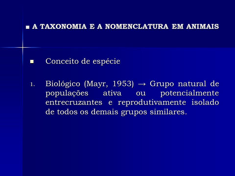 A TAXONOMIA E A NOMENCLATURA EM ANIMAIS A TAXONOMIA E A NOMENCLATURA EM ANIMAIS Conceito de espécie Conceito de espécie 1. Biológico (Mayr, 1953) Grup