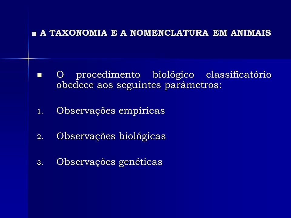 A TAXONOMIA E A NOMENCLATURA EM ANIMAIS A TAXONOMIA E A NOMENCLATURA EM ANIMAIS Os nomes empregados para denominar as categorias taxonômicas de gênero para cima são sempre uninominais (escritas com inicial maiúscula).