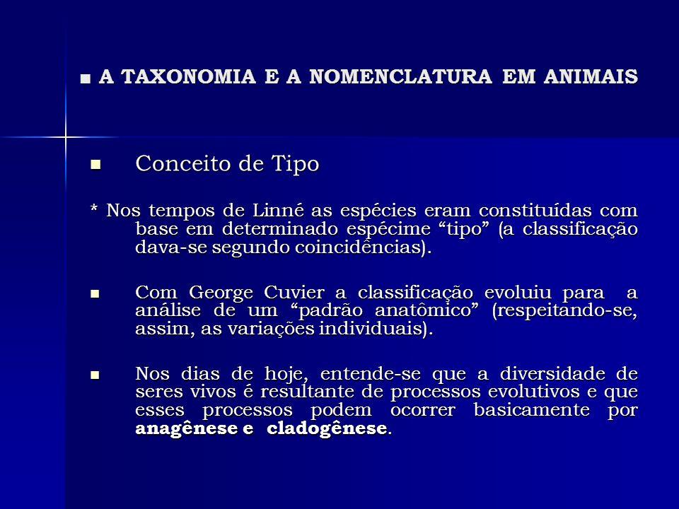 A TAXONOMIA E A NOMENCLATURA EM ANIMAIS A TAXONOMIA E A NOMENCLATURA EM ANIMAIS Conceito de Tipo Conceito de Tipo * Nos tempos de Linné as espécies er