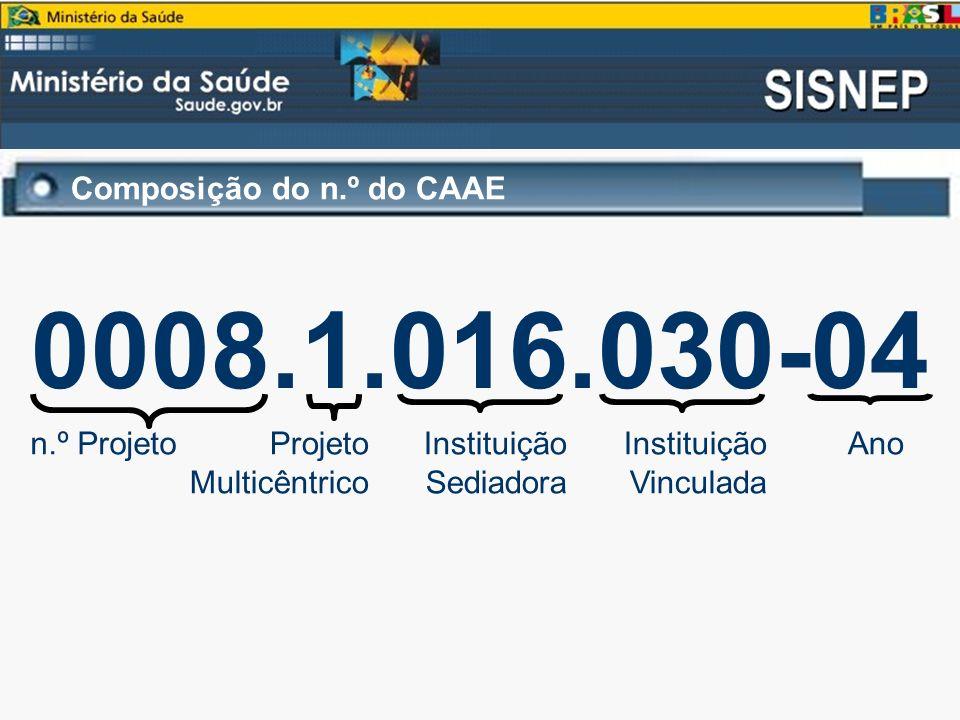 Composição do n.º do CAAE 0008.1.016.030-04 n.º ProjetoProjeto Multicêntrico Instituição Sediadora Instituição Vinculada Ano