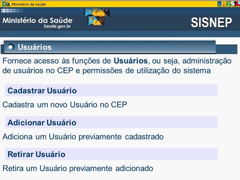 Usuários Cadastrar Usuário Fornece acesso às funções de Usuários, ou seja, administração de usuários no CEP e permissões de utilização do sistema Cada