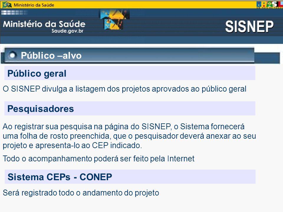 Público –alvo Público geral O SISNEP divulga a listagem dos projetos aprovados ao público geral Pesquisadores Ao registrar sua pesquisa na página do S
