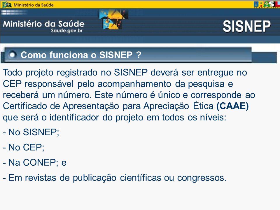 Como funciona o SISNEP ? Todo projeto registrado no SISNEP deverá ser entregue no CEP responsável pelo acompanhamento da pesquisa e receberá um número