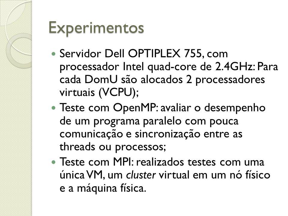Experimentos Servidor Dell OPTIPLEX 755, com processador Intel quad-core de 2.4GHz: Para cada DomU são alocados 2 processadores virtuais (VCPU); Teste