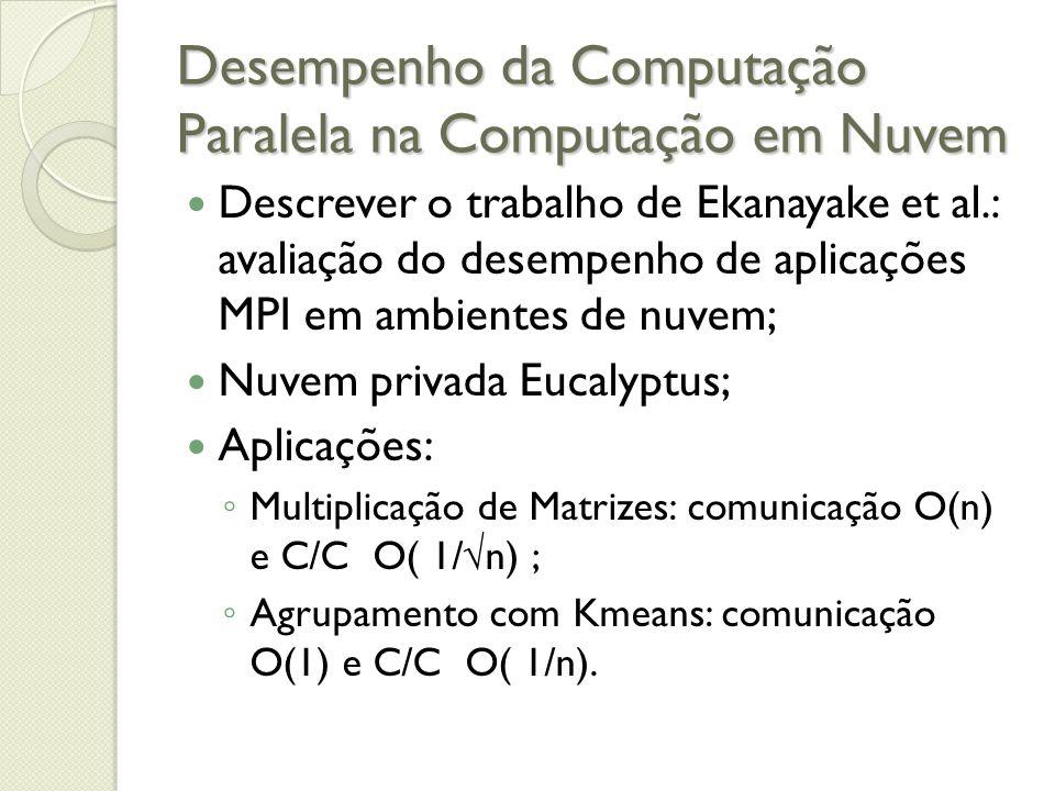 Desempenho da Computação Paralela na Computação em Nuvem Descrever o trabalho de Ekanayake et al.: avaliação do desempenho de aplicações MPI em ambien