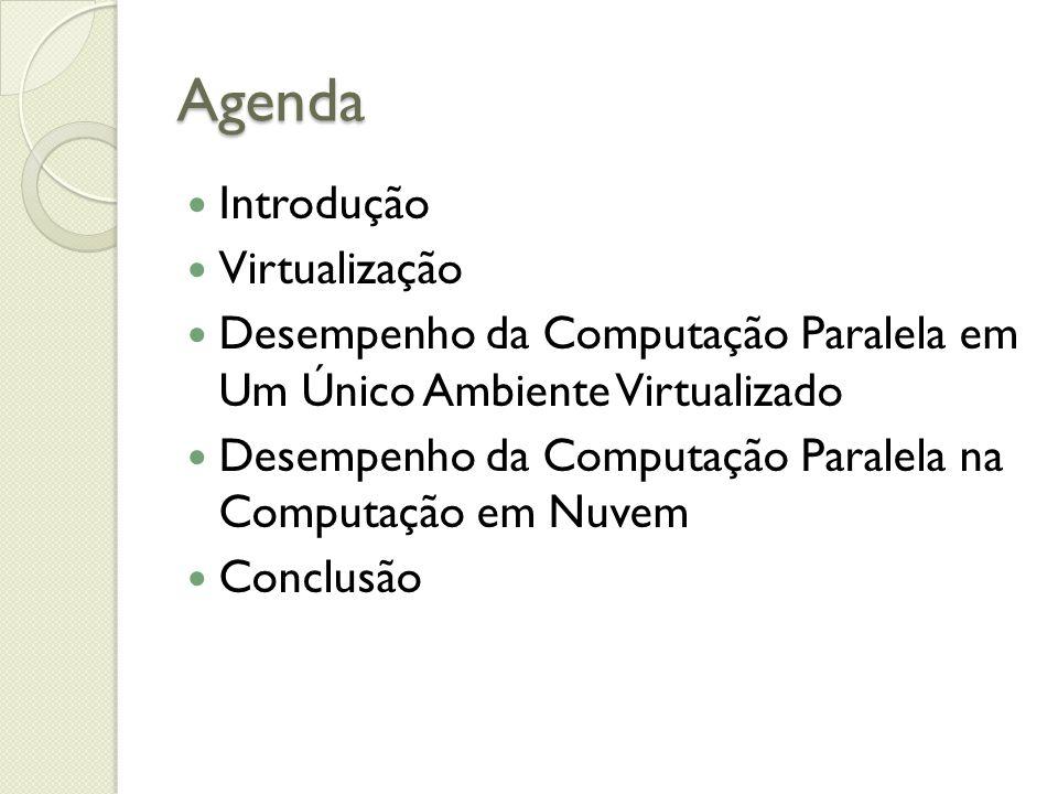 Agenda Introdução Virtualização Desempenho da Computação Paralela em Um Único Ambiente Virtualizado Desempenho da Computação Paralela na Computação em