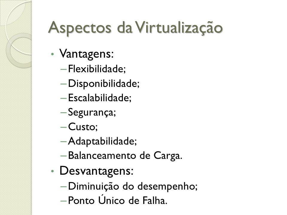 Aspectos da Virtualização Vantagens: – Flexibilidade; – Disponibilidade; – Escalabilidade; – Segurança; – Custo; – Adaptabilidade; – Balanceamento de