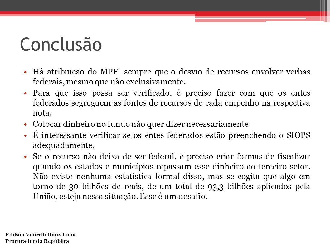 Edilson Vitorelli Diniz Lima Procurador da República Conclusão Há atribuição do MPF sempre que o desvio de recursos envolver verbas federais, mesmo qu