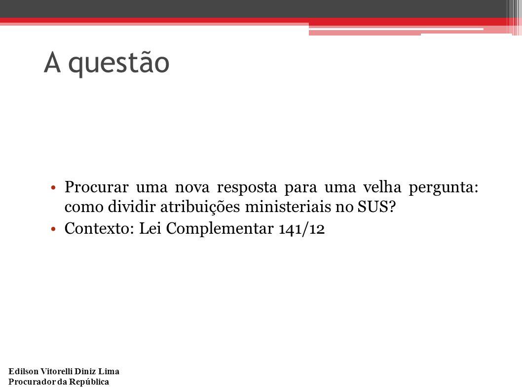 Edilson Vitorelli Diniz Lima Procurador da República A questão Procurar uma nova resposta para uma velha pergunta: como dividir atribuições ministeria