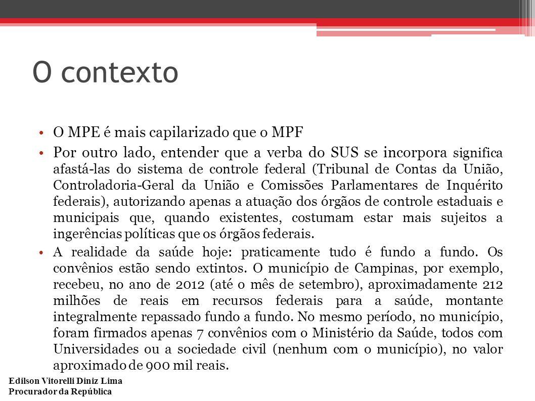 Edilson Vitorelli Diniz Lima Procurador da República O contexto O MPE é mais capilarizado que o MPF Por outro lado, entender que a verba do SUS se inc
