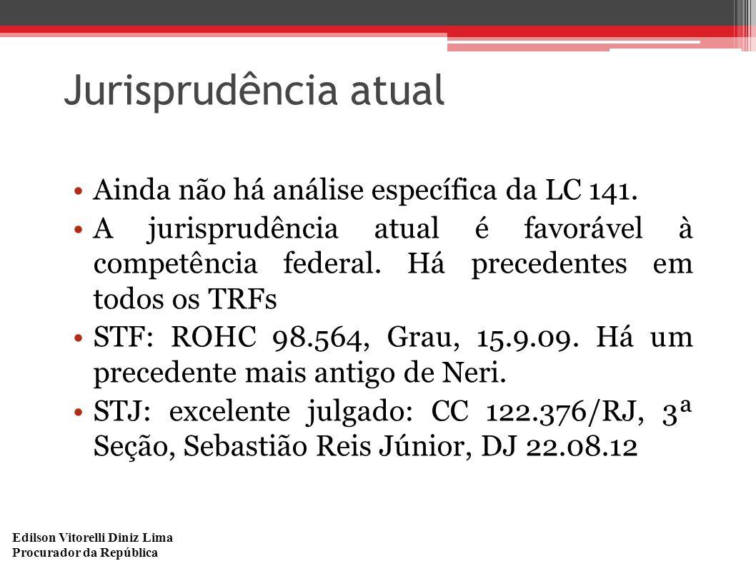 Edilson Vitorelli Diniz Lima Procurador da República Jurisprudência atual Ainda não há análise específica da LC 141. A jurisprudência atual é favoráve