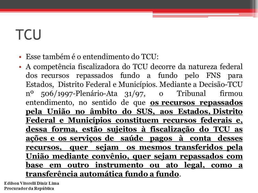 Edilson Vitorelli Diniz Lima Procurador da República TCU Esse também é o entendimento do TCU: A competência fiscalizadora do TCU decorre da natureza f