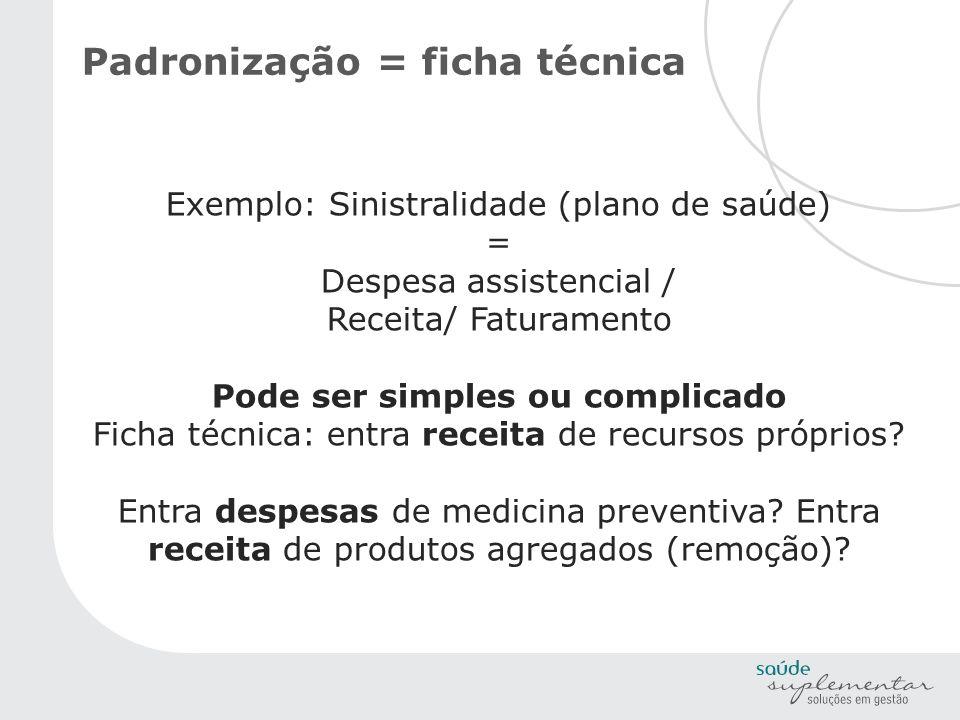 Padronização = ficha técnica Exemplo: Sinistralidade (plano de saúde) = Despesa assistencial / Receita/ Faturamento Pode ser simples ou complicado Fic
