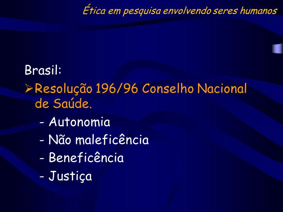 Brasil: Resolução 196/96 Conselho Nacional de Saúde. - Autonomia - Não maleficência - Beneficência - Justiça Ética em pesquisa envolvendo seres humano
