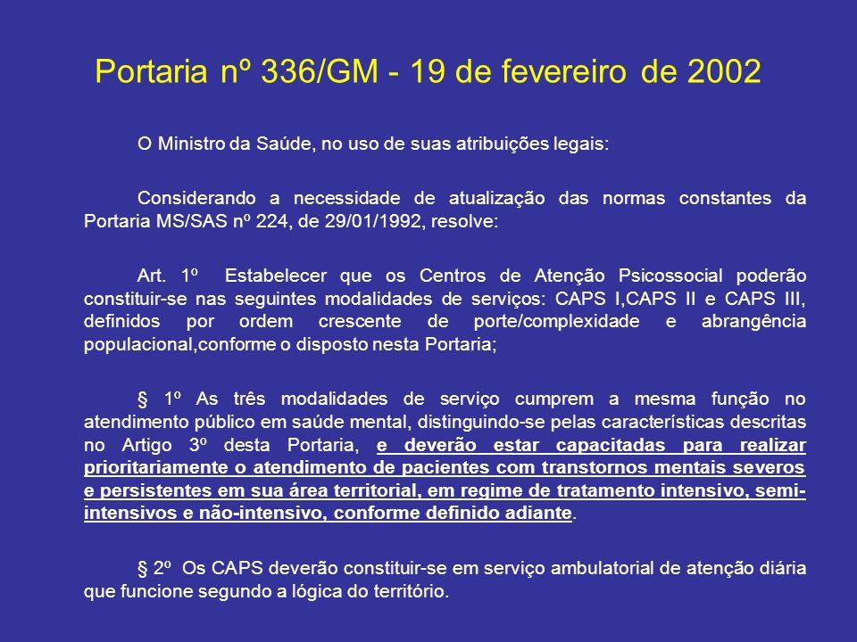 Portaria nº 336/GM - 19 de fevereiro de 2002 O Ministro da Saúde, no uso de suas atribuições legais: Considerando a necessidade de atualização das nor