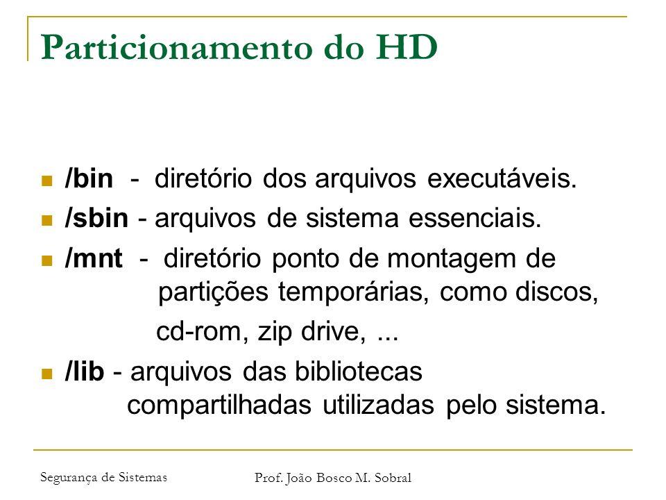 Segurança de Sistemas Prof. João Bosco M. Sobral Particionamento do HD /bin - diretório dos arquivos executáveis. /sbin - arquivos de sistema essencia