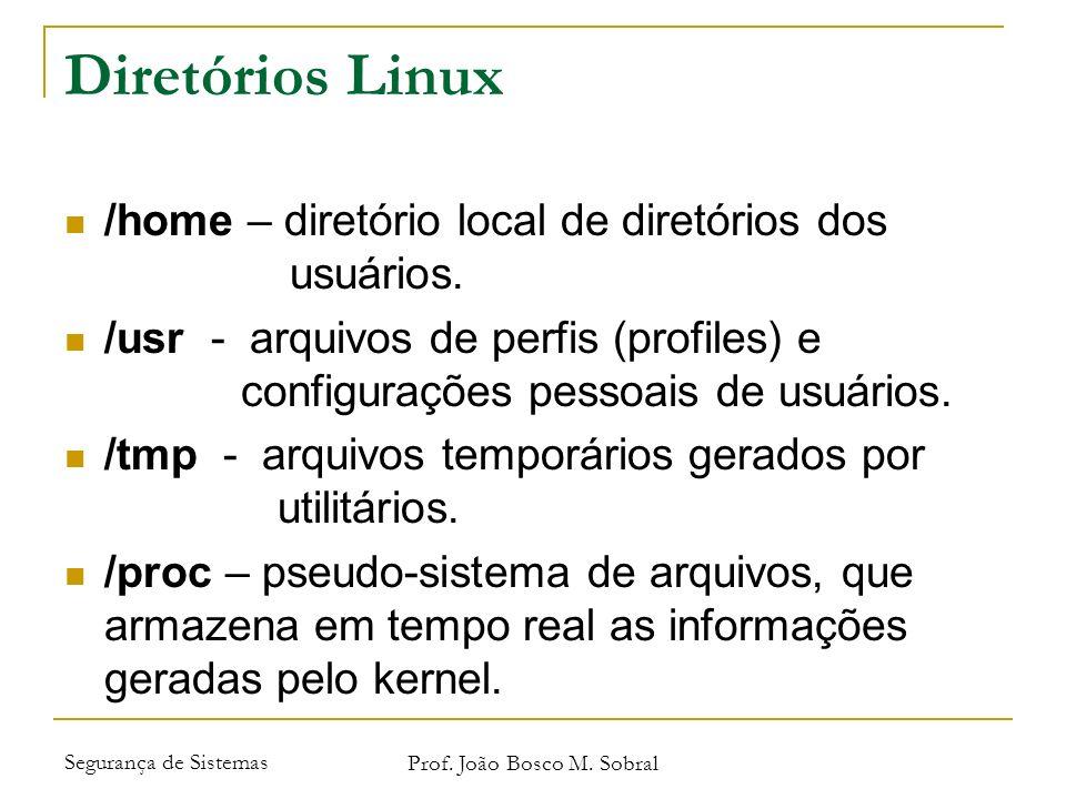 Segurança de Sistemas Prof. João Bosco M. Sobral Diretórios Linux /home – diretório local de diretórios dos usuários. /usr - arquivos de perfis (profi