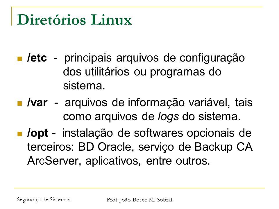 Segurança de Sistemas Prof. João Bosco M. Sobral Diretórios Linux /etc - principais arquivos de configuração dos utilitários ou programas do sistema.