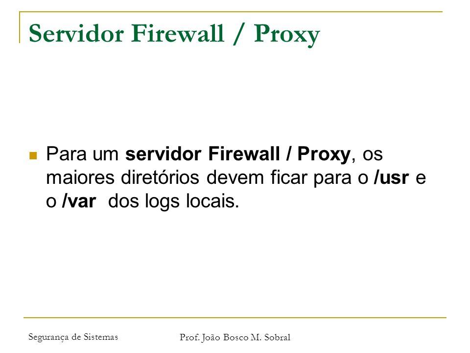 Segurança de Sistemas Prof. João Bosco M. Sobral Servidor Firewall / Proxy Para um servidor Firewall / Proxy, os maiores diretórios devem ficar para o