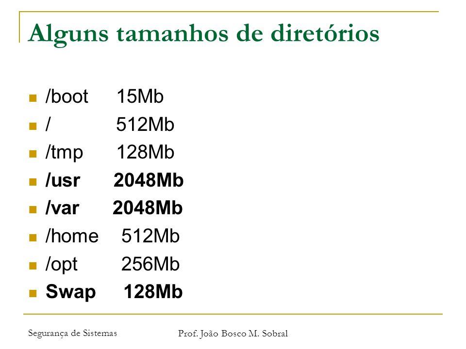 Segurança de Sistemas Prof. João Bosco M. Sobral Alguns tamanhos de diretórios /boot 15Mb / 512Mb /tmp 128Mb /usr 2048Mb /var 2048Mb /home 512Mb /opt