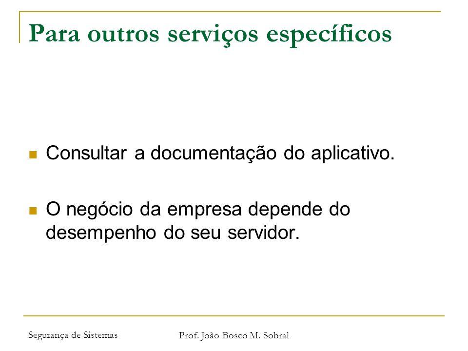 Segurança de Sistemas Prof. João Bosco M. Sobral Para outros serviços específicos Consultar a documentação do aplicativo. O negócio da empresa depende