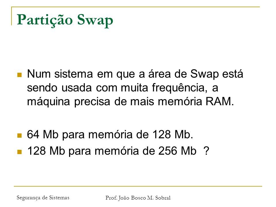 Segurança de Sistemas Prof. João Bosco M. Sobral Partição Swap Num sistema em que a área de Swap está sendo usada com muita frequência, a máquina prec