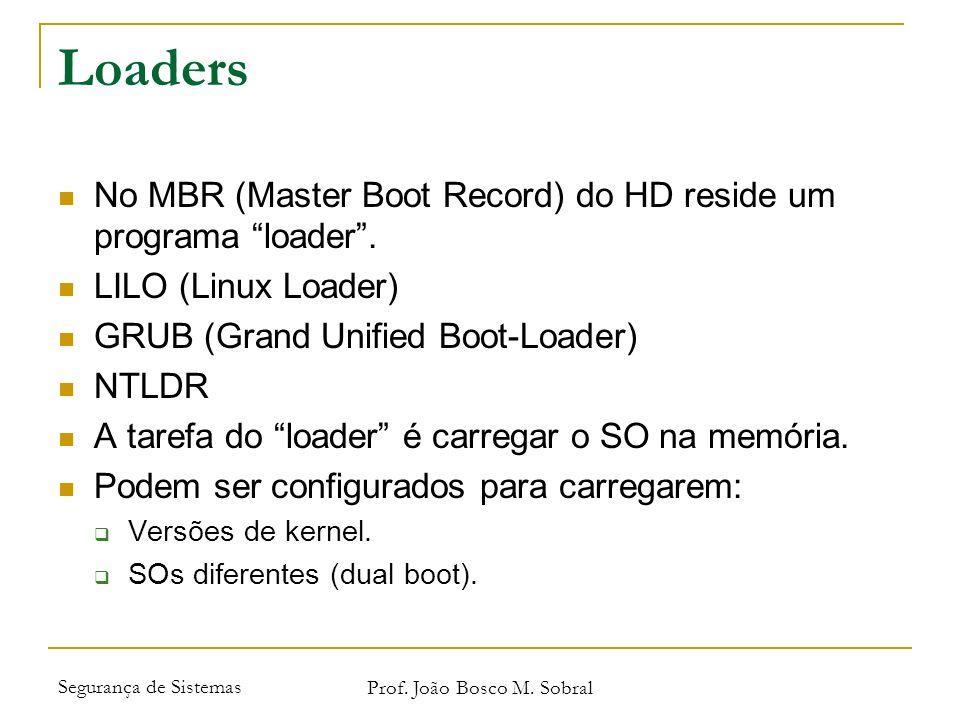 Segurança de Sistemas Prof. João Bosco M. Sobral Loaders No MBR (Master Boot Record) do HD reside um programa loader. LILO (Linux Loader) GRUB (Grand